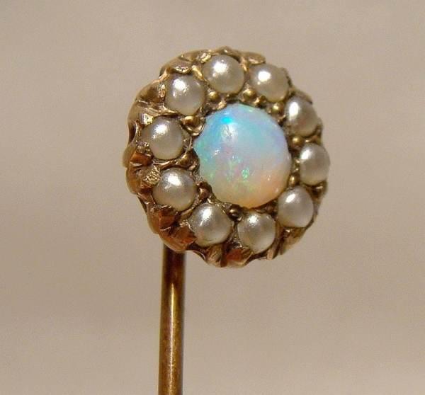 Antique 14K Opal Seed Pearl Stickpin Tie Cravat Pin 1880 1890