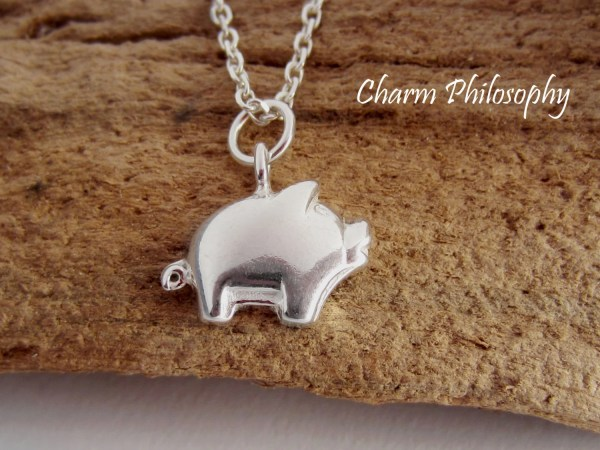 Pig Necklace Small Piglet Charm Pendant 925 Sterling