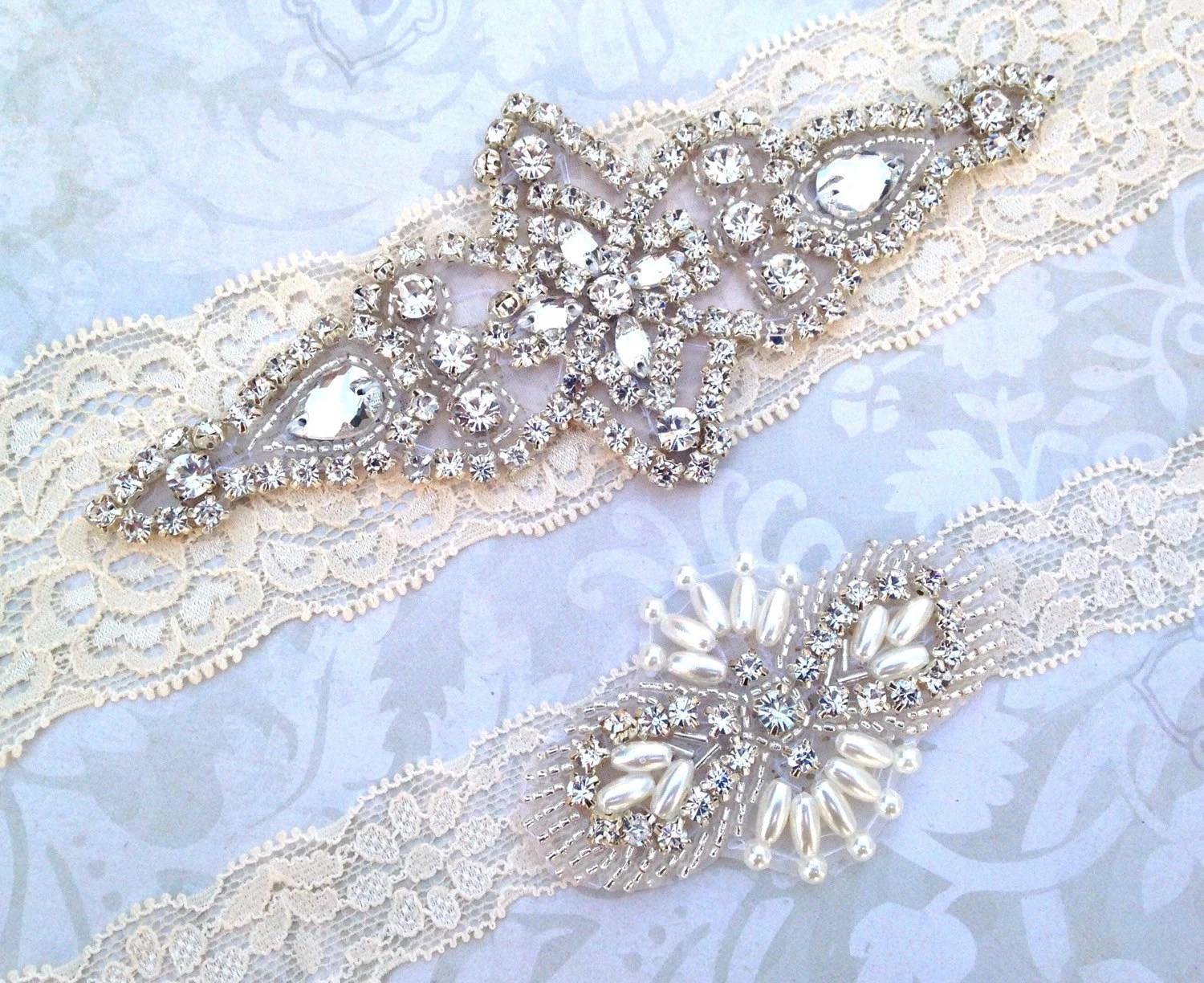 Wedding Garter Set Vintage Lace Garter With Pearl And