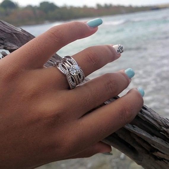 Forever Brilliant Moissanite Ring Guard Criss Cross Wedding