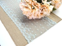 Wedding table runner dusty blue lace wedding by HotCocoaDesign