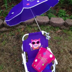 Child Beach Chair Macrame Patterns Persoanlized Kids With Umbrella By