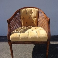 Mid Century Cane Barrel Chair Staples Turcotte Brown Vintage Tufted Regency Chippendale Chinoiserie Faux Bamboo Wood Lounge ...