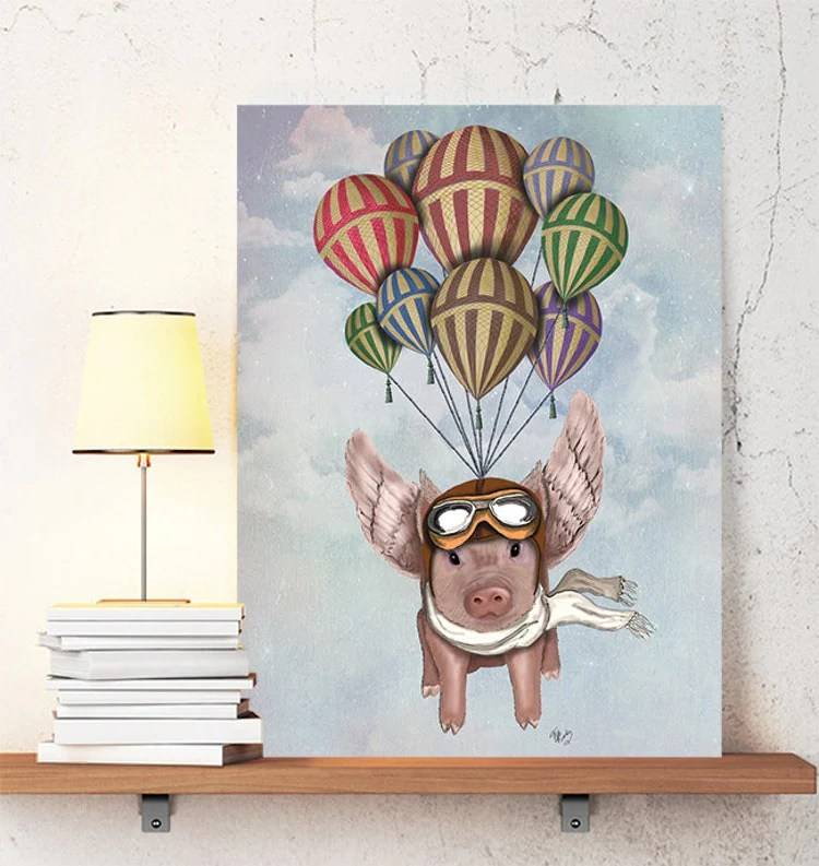 Pig With Wings Pig And Hot Air Balloons Flying Pig By LoopyLolly