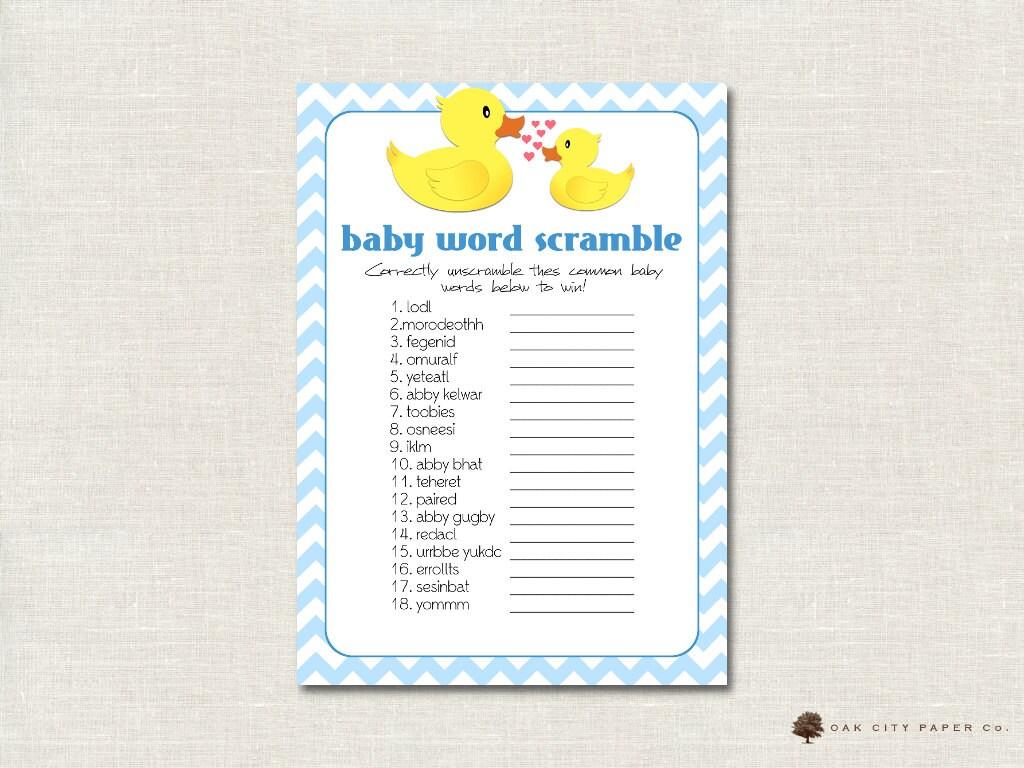 Rubber Ducky Baby Shower Word Scramble By Oakcitypapercompany