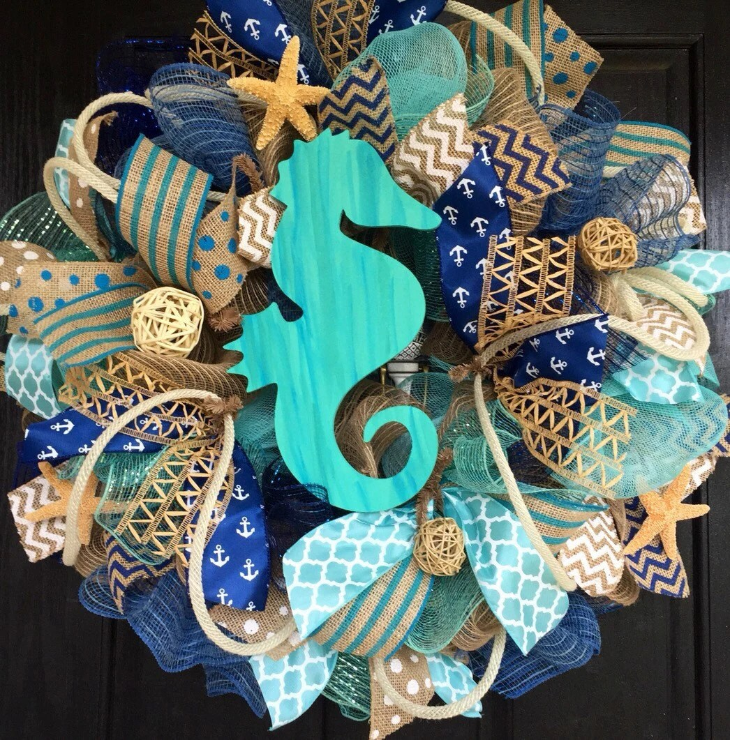 Summer Deco Mesh Wreathburlap Nautical By ShellysChicDesigns