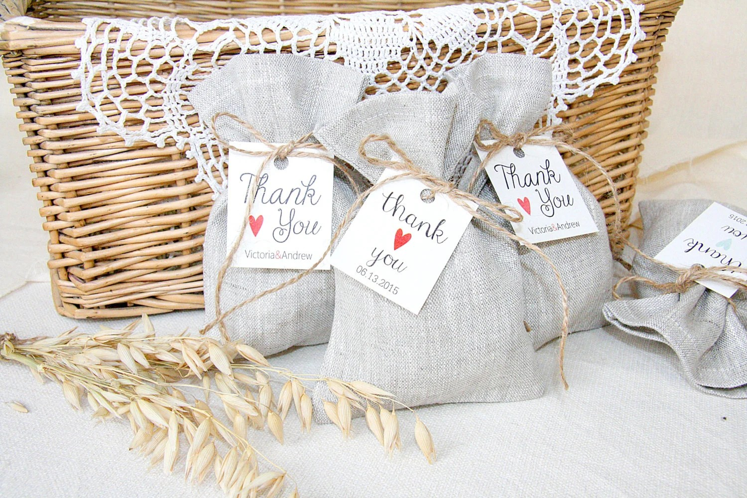 Personalized Linen Favor Bag Wedding Gift Bags By