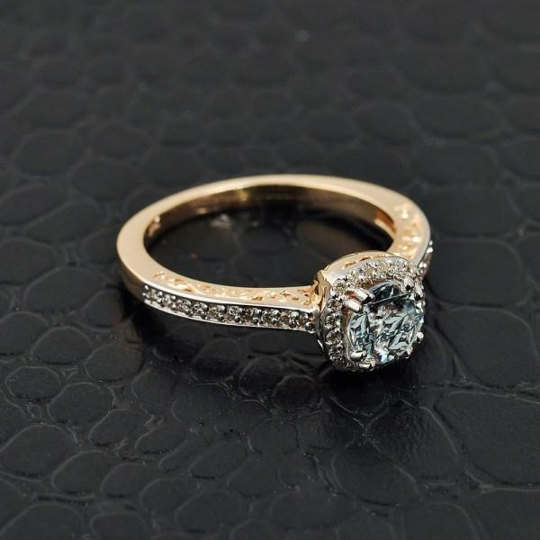 Aquamarine Engagement Ring . Yellow Gold Calirosejewelry
