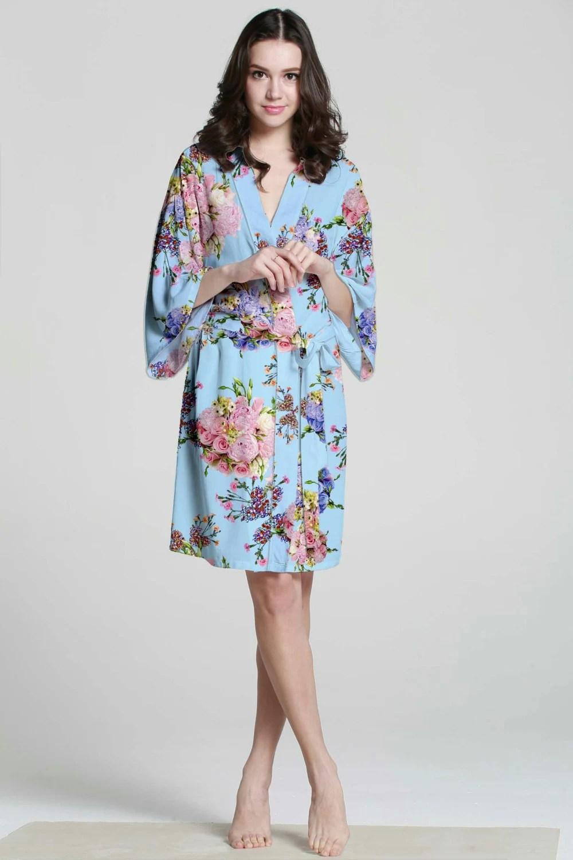 I04008 Baby Blue Floral Robe Cotton Short Wedding by MilkRobe