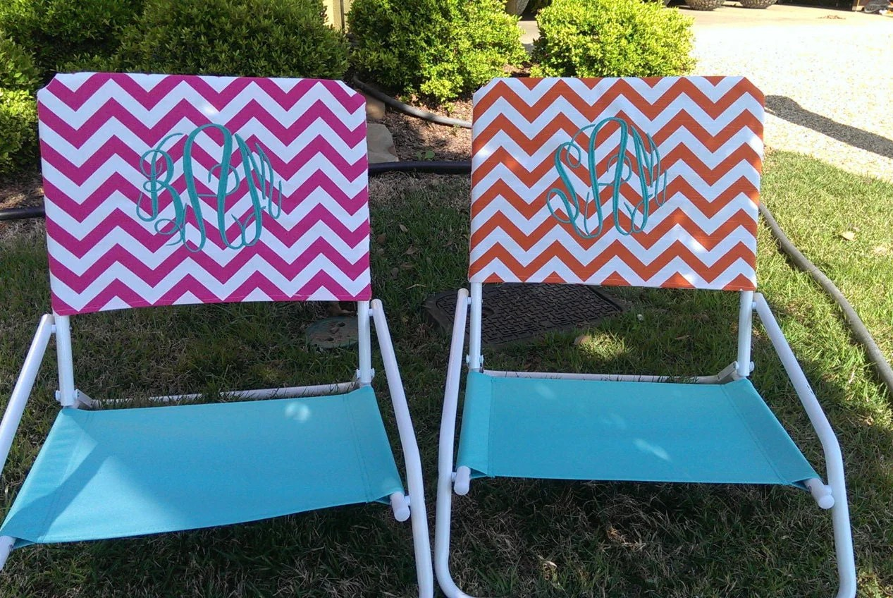 beach chair cover white covers with royal blue sashes pink monogram chevron slip