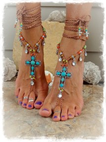 Turquoise Cross Barefoot Sandals Festival Mexican