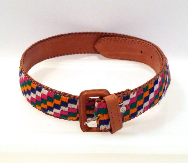 Guatemala Belt Vintage Rainbow Check Leather