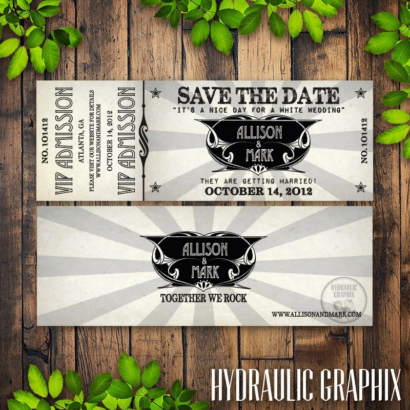 Printable Concert Ticket Wedding Save the Date with VIP