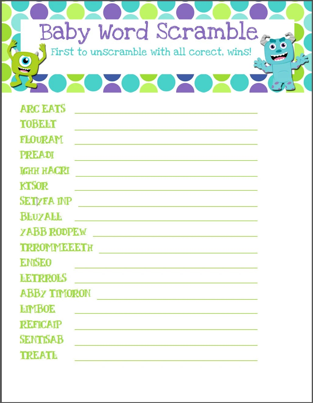 Monsters Inc Baby Shower Game Word Scramble