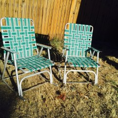 Green Lawn Chairs Teal Chair Cushions Vintage Folding Aluminum Retro Rocking