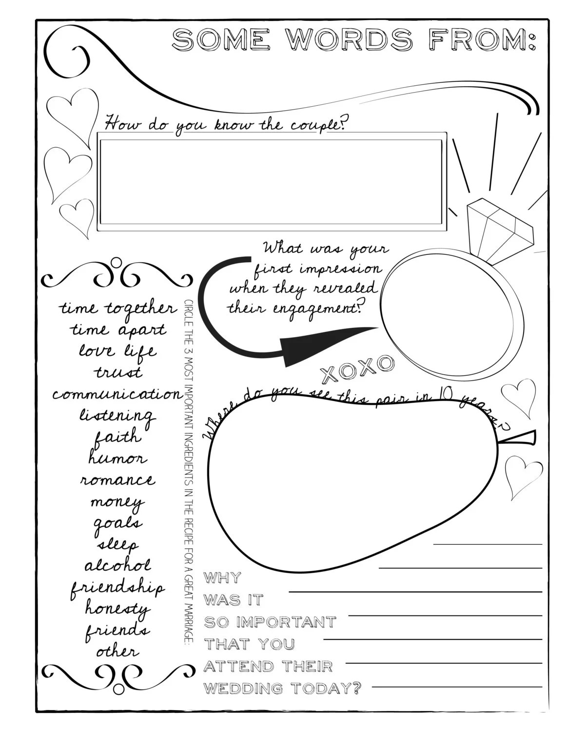 Set Of 3 Printable Wedding Guest Book Pages By