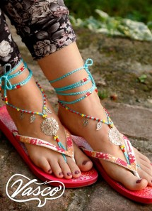 2017 Summer Fashion Trends. Barefoot Sandals. Blue Hippie