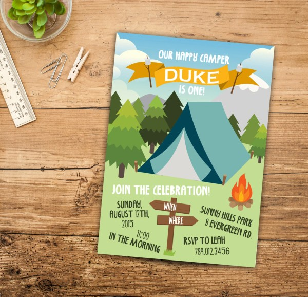 Images Of Happy Camper Birthday Party Invitations