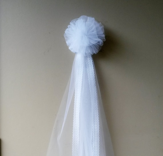 White Tulle Pew Bow Pom Tulle Pew Bow Wedding by