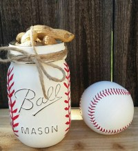 Hand Painted Baseball Mason Jar Teacher Gift Baseball Coach
