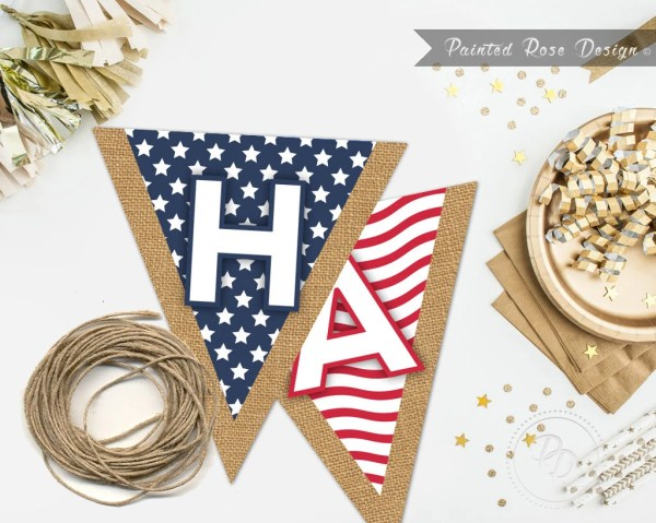 INSTANT DOWNLOAD 4th of July Pennant Flag Banner