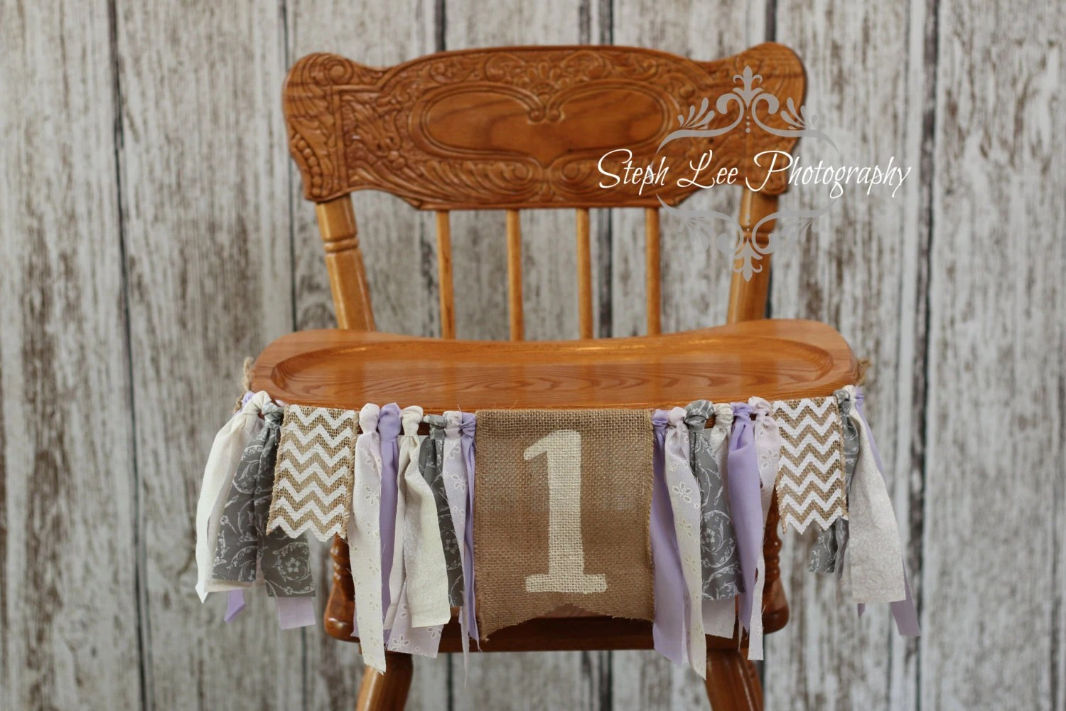 purple high chair stool with wheels grey fabric highchair banner baby girl
