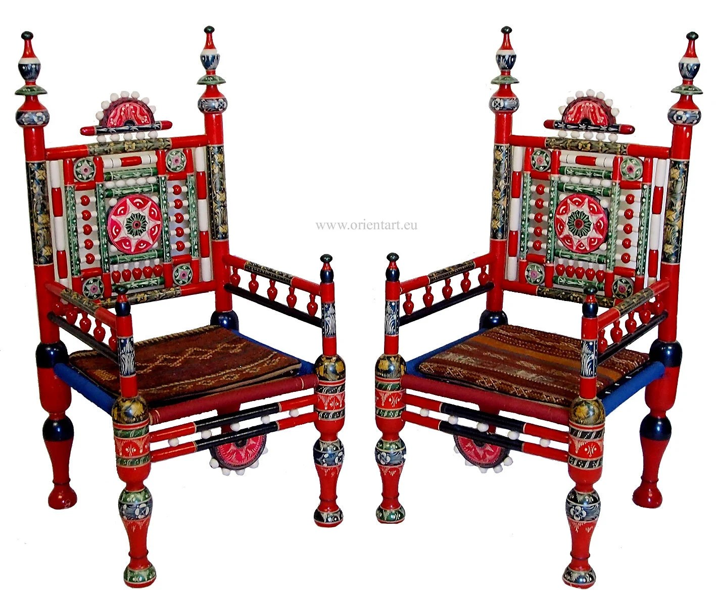 A pair of traditional punjabi tribal chairs from pakistan for Traditional wooden kitchen chairs