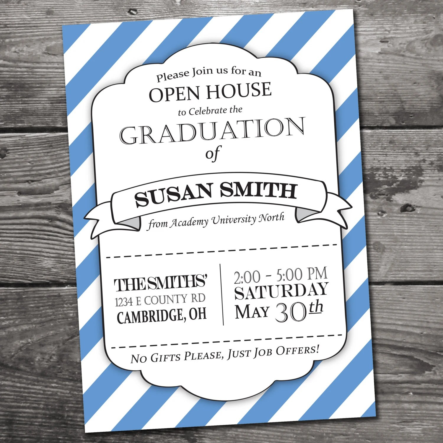 Customizable Graduation Open House Invitation By