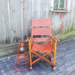 Antique Folding Rocking Chair Wood Cane Leather And By
