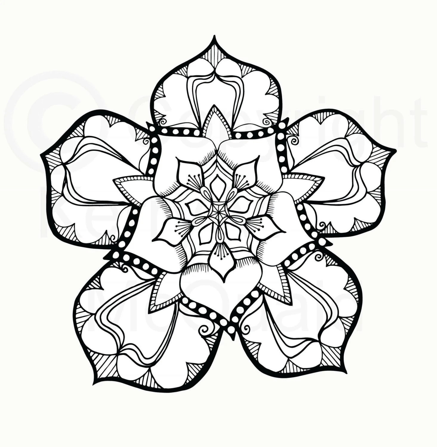 Instant PDF Download Coloring Page Hand Drawn Tudor Rose