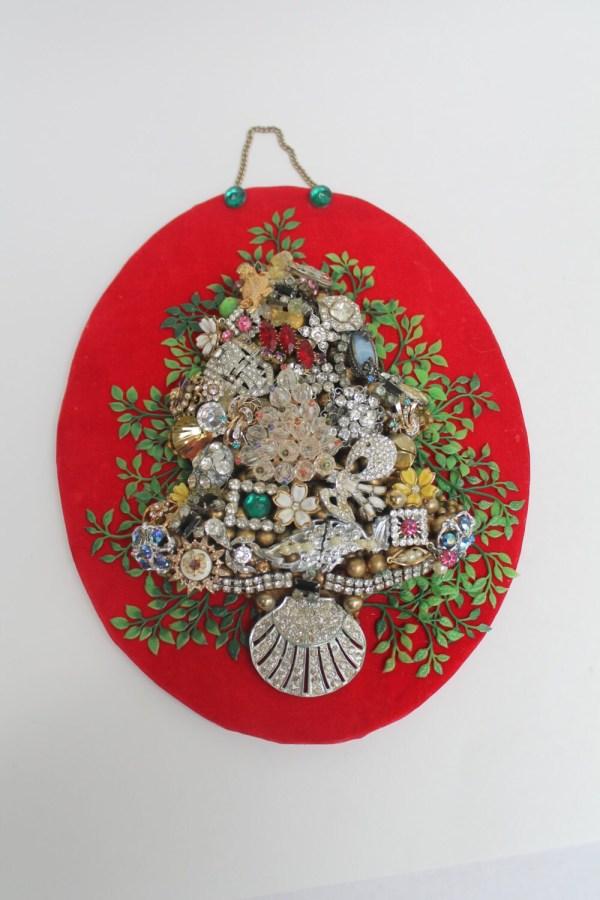 Costume Jewelry Christmas Tree Hanging Art Rhinestone