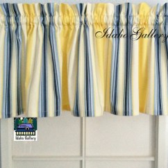 Red Kitchen Valance Moen Faucet Reviews Duralee Home Claires Stripe Ii Twill Blue/yellow