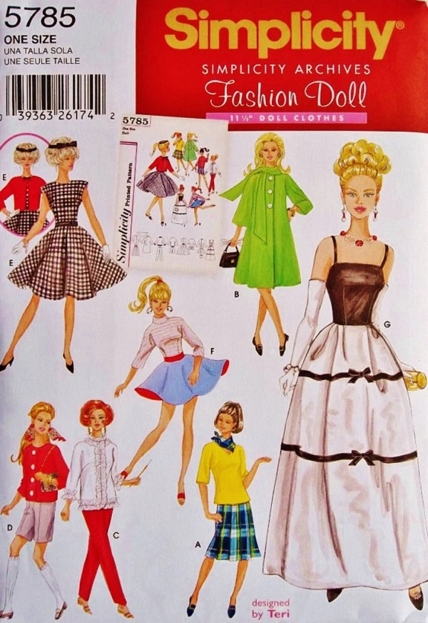 1 2 Fashion Doll Clothes Pattern Blue510