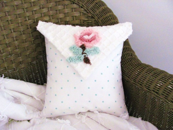 Love Note Chenille Pillow Cover Shabby Cottage Chic