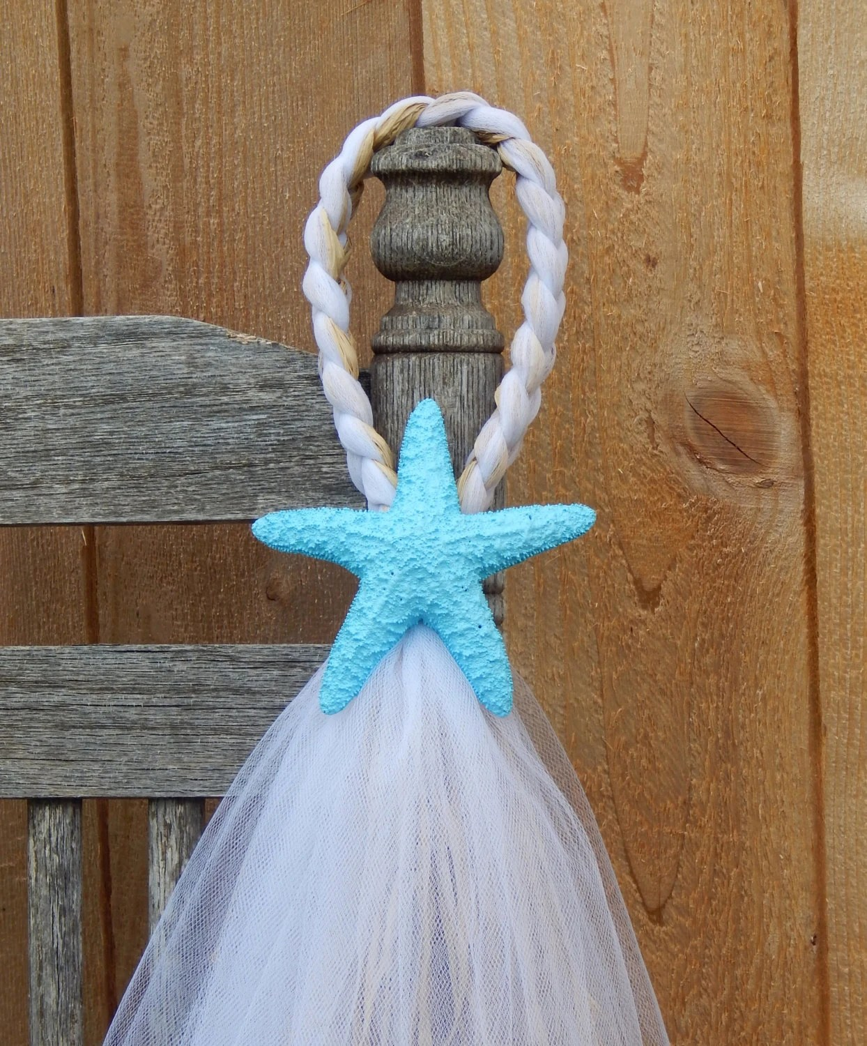 starfish wedding chair decorations embassy high tulle and raffia hangers painted pew bow