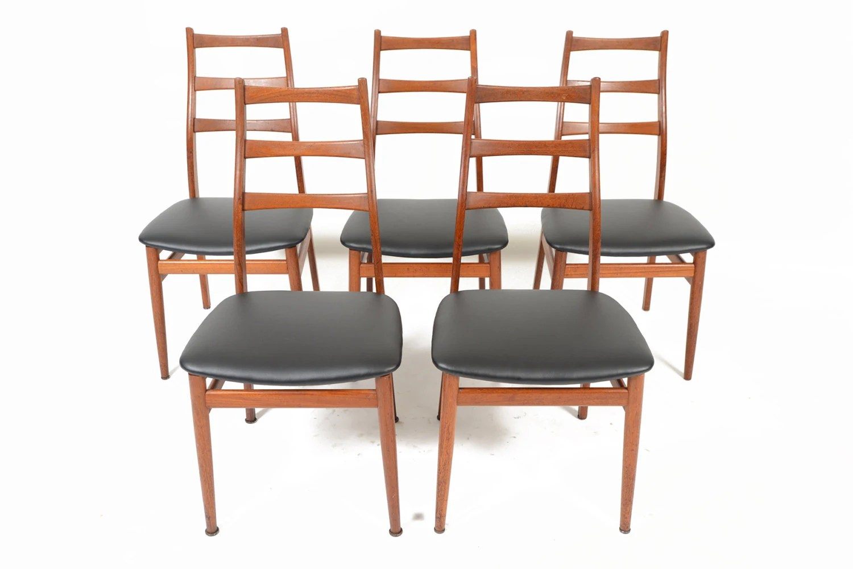 Set Of Five Mid Century Danish Modern Teak Highback Dining