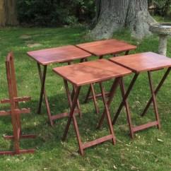Heavy Duty Folding Chair With Side Table Kids Swing Danish Modern Tv Trays Stand 5-piece Set