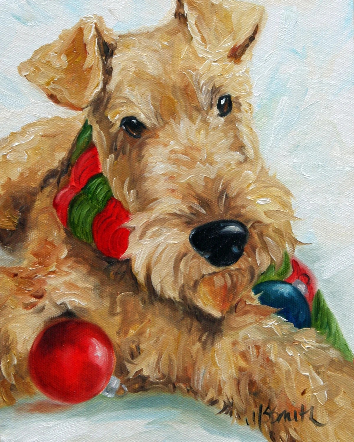 Items Similar To NEEDLEPOINT CANVAS PRINT Airedale Terrier