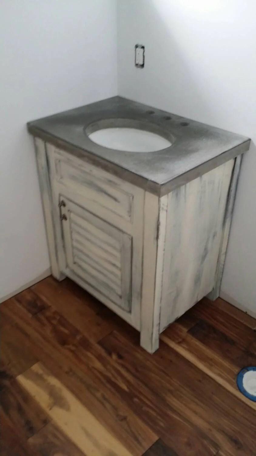 Lightly distressed bathroom vanity