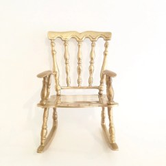 Oversized Aluminum Rocking Chair Upholstered Stacking Chairs Large Vintage Doll Brass Old Style