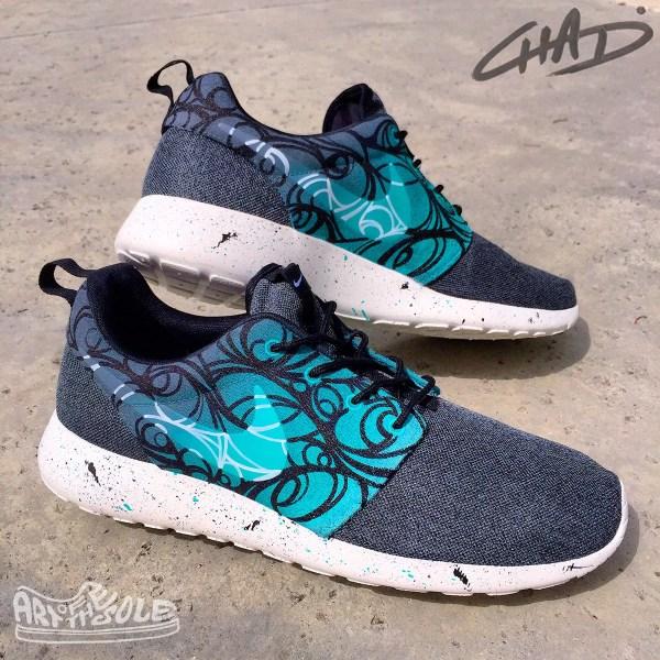 Abstract Tiffany' Custom Hand Painted Nike Roshe