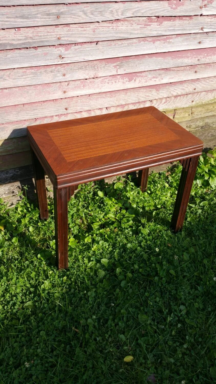 Vintage wood side table art deco small vintage table - Petite table haute ...