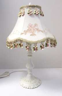 Shabby White Vintage Style Table Lamp And Custom Hand-painted