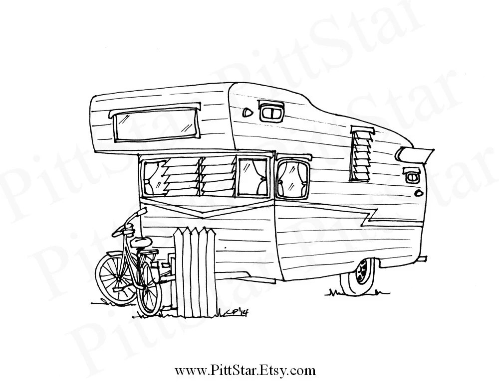 Instant Download Shasta Travel Trailer Printable Coloring