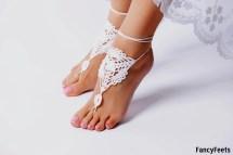 Crochet White Barefoot Sandals Foot Jewelry Bridesmaid