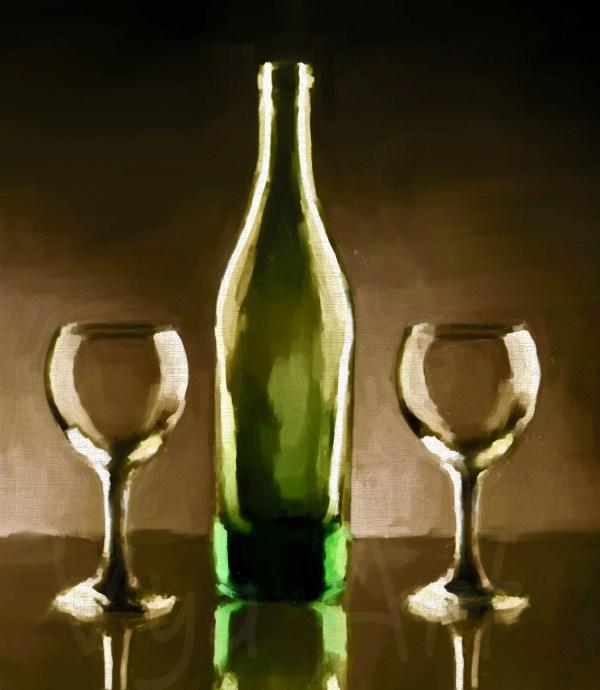 Wine Bottle Still Life Painting
