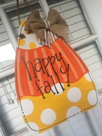 Fall Candy Corn Wooden Door Hanger by arhjohnston on Etsy
