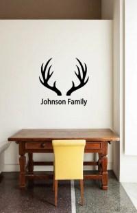 Custom Name & Antlers Vinyl Decal Family Vinyl Wall Deer