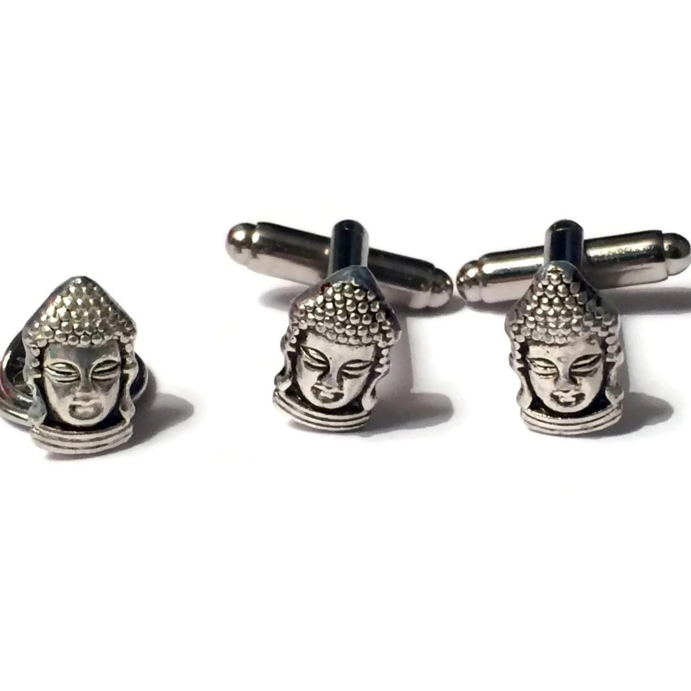 Sale Men S Silver Thai Buddha Cufflinks Amp Tie Tack