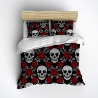 Fleece Black and Red Rose Skull Bedding Beautiful by